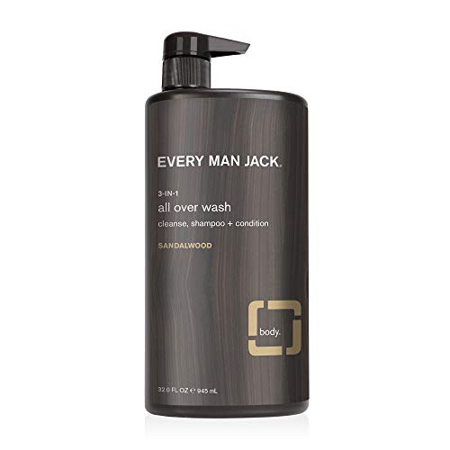 Every Man Jack 3-in-1 All Over Wash, Sandalwood, 32-ounce