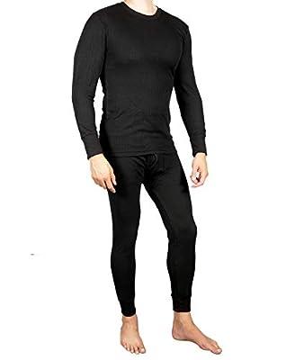 Joe Boxer Mens 2pc Thermal Underwear Set, Crew Top Shirt -, Black, Size 2.0