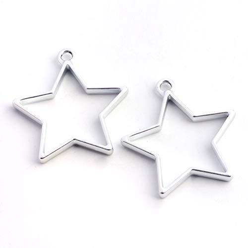 10 piezas de estrella abierta bisel colgante de metal hueco molde 35 x 32,8 mm para resina fundición collares pendientes fabricación de suministros