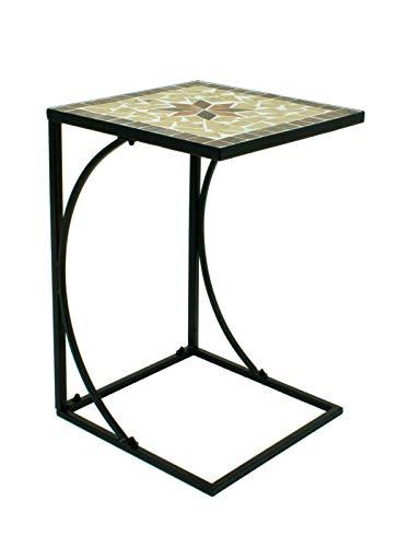 Spetebo Metall Beistelltisch mit Mosaik Platte - Deko Garten Tisch Balkon Terrasse