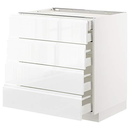 METOD/MAXIMERA base cb 4 frnts/2 bajos/3 md drwrs 80x62.1x88 cm blanco/Voxtorp alto brillo/blanco