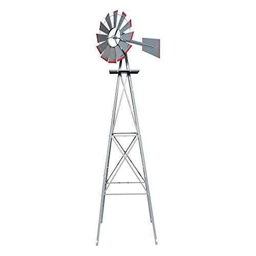 VINGLI Upgrade 8FT Ornamental Windmill Backyard Garden Decoration Weather Vane, Heavy Duty Metal Wind Mill w/ 4 Legs Design, Grey