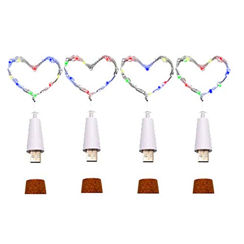 Wine Bottle Cork Lights,USB Powered Rechargeable Copper Wire String Starry 32inch 15 LED Light for DIY,Party,Home Decor,Christmas,Wedding or Mood Lights Warm White (USB Powered Multicolor 4 Pack)