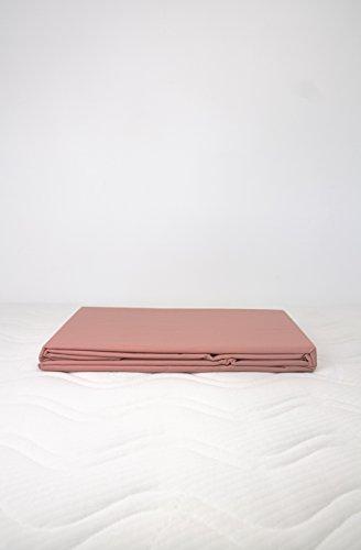 Kadolis Housse de Couette Coton Bio uni + 2 taies d'oreiller Rose poudré 240 x 260 cm