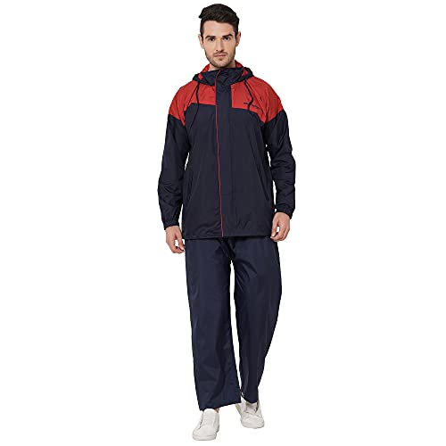 ZEEL Mens Raincoat with Hood | Water Fighter-Rain Coat for Men | Waterproof Pant and Carrying Pouch | Navy-Red | WF253| Size -...
