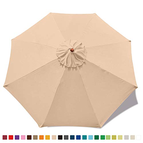 ABCCANOPY 9ft Umbrella Top for Patio/Market Umbrella Replacement Canopy with 8 Ribs(Light Beige)…