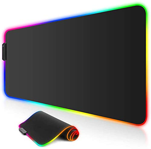 Large RGB Gaming Mouse Pad, ARCHEER LED Soft Extra Extended Large Mouse Mat, Anti-Slip Rubber Base, Computer Keyboard Mouse Pad - 31.5 X 11.8 Inch(800x300mm)