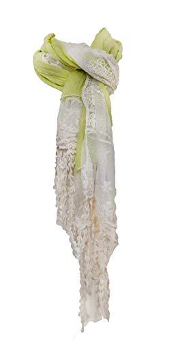 Pamper Yourself Now Senf mit Creme Flower Lace mit Fransen Schal- Mustard with cream flower lace trim with tassels scarf