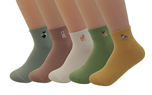Women's 5 pairs Colorful Casual Socks Cute Lovely Animal Pattern Novelty Socks Good for Gift (Dog embroidery ankle socks)