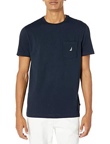 Nautica Men's Solid Crew Neck Short Sleeve Pocket T-Shirt, Navy, Large