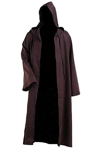 LHJ Men Tunic Hooded Robe Halloween Costume Knight Cloak Brown, X-Large
