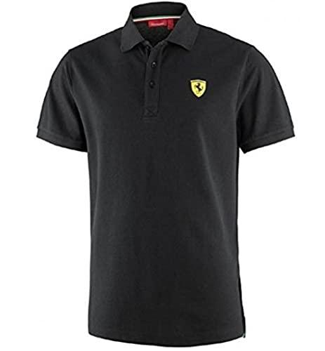 Ferr ari Herren Poloshirt, klassisch, Schwarz Gr. XL, Schwarz