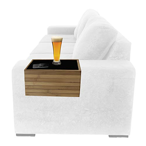 Bamboo Sofa Arm Tray Table for Couch Arm Rest Protector Universal Drink Holder Side Table Couch Coaster Placemat Flexible Foldable Non-Slip Remote Caddy for TV Dinners