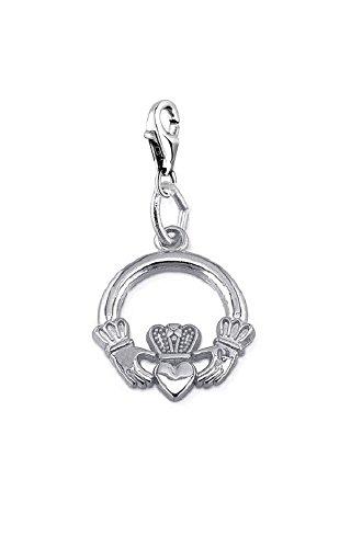 Anaconda-jewels Charm Claddagh Anhänger, Irish Symbol Anhänger 925 versilbert
