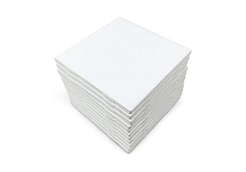 Set of 12 Glossy White Ceramic Tiles for Arts & Crafts by Squarefeet Depot Genuine Made in USA (4.25'x4.25')