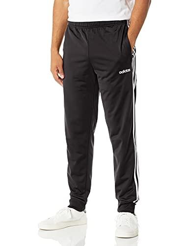 adidas Men's Essentials 3-Stripes Primegreen Regular Fit Full Length Tapered Training Joggers Sweatpants, Black/White, Medium