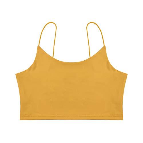 Carolilly Estate Top Corto Camisole da Donna Sportivo in Tinta Unita Sexy Reggiseno Crop Tops in Poliestere Traspirante da Corsa Yoga Palestra (Giallo, L)