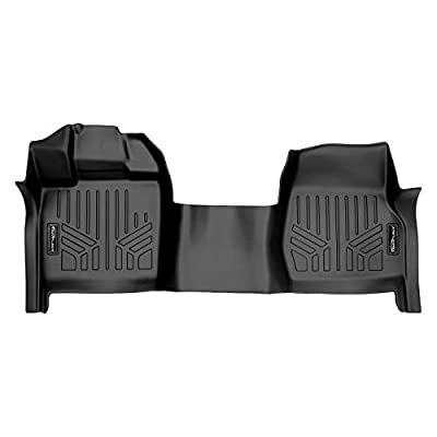 SMARTLINER Floor Mats 1st Row 1pc Liner Black for 2015-2019 Ford F-150 Regular Cab with Bench Seat and Vinyl Flooring Only