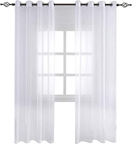 FLOWEROOM Transparent Voile Vorhang Gardinen - Einfarbige Durchsichtig Vorhänge Wohnzimmer Ösenvorhang 225x140 cm Weiß 2er Set