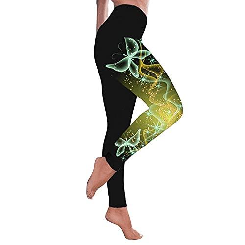 ArcherWlh Conjuntos de Legging para mujeres, modelos de explosión femeninos impresos coloridos mariposa cintura alta leggings pantalones de yoga de gran tamaño-amarillo_Xxl