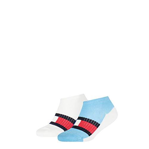 Tommy Hilfiger Kids Sport Sneaker-Trainer Socks (2 Pack) Calcetines, Blue Combo, 35-38 para Niños