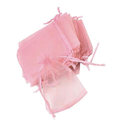 Yililay Bolsas de Almacenamiento, 10pcs prácticos con cordón Bolsas de Organza Portable de la joyería Bolsas Transparentes Bolsitas Regalo para la Fiesta de Boda Caramelo Galletas (Rosa)