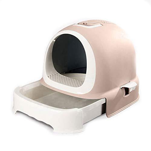 Yfdmbk Caja De Arena De Gato Totalmente Cerrada Desodorante De Ahorro De Espacio Pequeño Anti-Spillero Simple Gato Gatito Libre Cabina Gato Inodoro Lindo (Color : Brown)