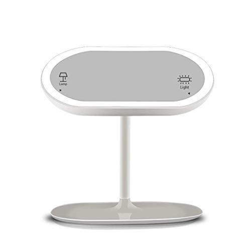 DERUKK-TY Artículos para el hogar y Maquillaje Espejo de Aumento con luz, Creative Desktop Led Espejo con luz Grados giratoria Tabla Espejo de la lámpara 360