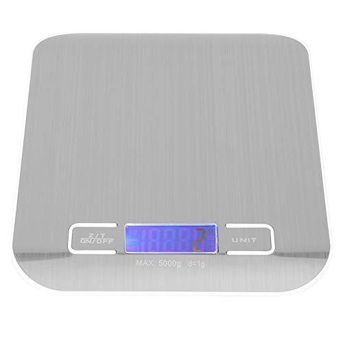 Balance de cuisine, 5 kg/1 g Balance électronique en acier inoxydable Balance de cuisine domestique portable pour la cuisson et la cuisson avec tampons en plastique antidérapants Balance alimentaire m