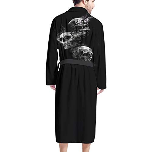 Belidome Herren Bademantel mit Taschen, langärmelig, weich, leicht, lang, Einheitsgröße Gr. Einheitsgröße, totenkopf