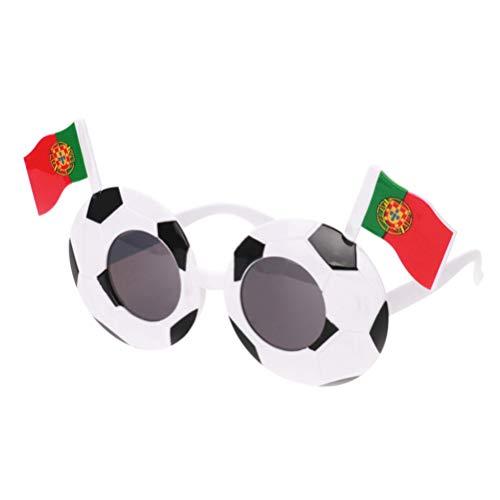 NUOBESTY Gafas De Fiesta Ftbol con Bandera para Copa Mundial Copa de Europa De La UEFA Gafas De Disfraces Divertidas Favores De Fiesta (Portugal)