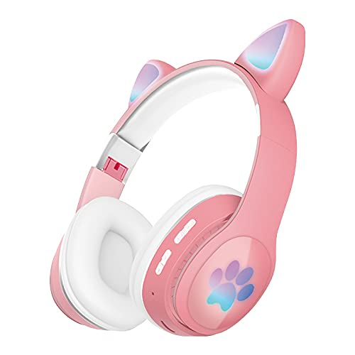 Cat Ear Gaming Headphones Wired AUX 3.5mm with LED Light, Flashing Stereo Game Headphones Surround Sound Over-Ear Headsets with Microphone Fit Kids & Adult for PC, PS4, Mobile, Laptop