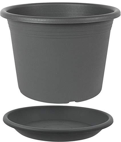 MePla Set 2-TLG. aus Blumentopf Pflanzkübel Cilindro rund Durchmesser 45 cm und Untersetzer rund ø44 cm, Anthrazit, wetterfest aus UV-beständigem Kunststoff
