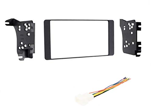 Car Stereo Dash Mount Kit and Wire Harness Combo to Install a Double Din Size Aftermarket Radio for 2015 2016 2017 Mitsubishi Outlander Sport - No Factory Premium System/No External Factory amp