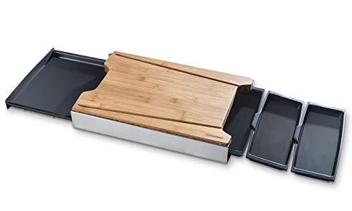 Schneidbox Bambus - Schneidebrett Mit 4 Auffangschalen Im Edelstahlkasten - Patentiertes Trennsystem - Made In Germany - 46 x 30 x 7 cm