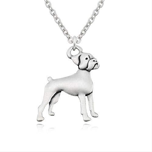 VAWAA Vintage Plata Color bóxer Perro Encanto Colgante Collar de Gargantilla para Hombres de Acero...