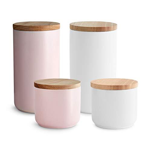Keramik Vorratsdosen 4-tlg. Set mit Holzdeckel Sweet Scandi, luftdichter Kautschukholz-Deckel, Aufbewahrungsdosen, Frischhaltedosen