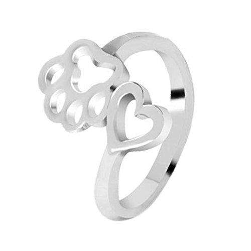 vi. Yo 1apertura di anelli carino Love Dog Claw Ring Jewelry for Lady Girls Birthday gift- anelli aperti e placcato Argento, colore: Silver, cod. 9