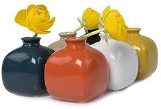 Inkwell Set of 6, Ceramic Flower Vase, Small Bud Vase for Roses (Blue, Orange, White, Tan, Yellow, Black)