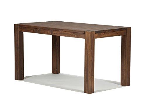 Naturholzmöbel Seidel Esstisch 140x80cm Rio Bonito Farbton Cognac braun Pinie Massivholz geölt und gewachst Holz Tisch für Esszimmer Wohnzimmer Küche, Optional: passende Bänke und Ansteckplatten