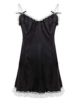YiZYiF Men s Adult Silky Satin Ruffled Frilly Sissy Maid Male Cross Dresser Slip Dress Pajamas Black Medium