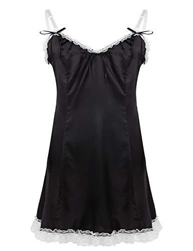 iiniim Men's Adult Baby Satin V-Neck Dress Sissy Crossdress Lingerie Nightwear Fancy Slip Dress Black Medium