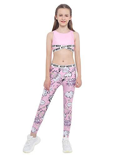 IEFIEL Conjuntos Deportivos para Niña Top Deportivo Estampado Moda+Leggings Largos Ropa Deporte de Correr Yoga Maillot Gimnasia Ritmica Rosa 3-4 años