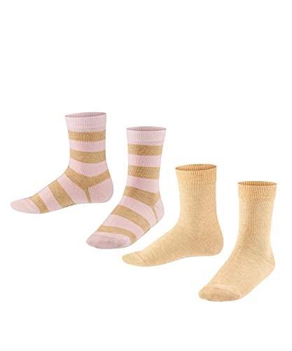 FALKE Unisex Kinder Happy Stripe 2-Pack K SO Socken, Beige (Sand Melange 4650), 31-34 (7-9 Jahre) (2er Pack)