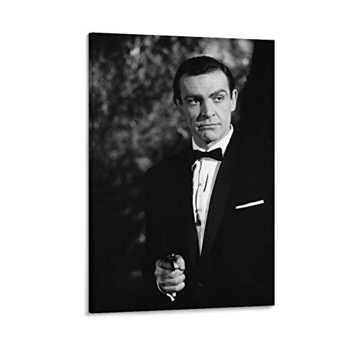 NQSB Film Stars Sean Connery 007 James Bond 26 - Stampa artistica su tela e poster da parete, 60 x 90 cm