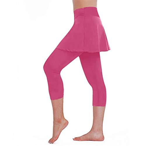 2 in1 Sport Leggings mit Rock Caprihose für Frauen/Dorical Damen Sporttanz, Sportkombi, Minirock mit Leggins für Tennis Running, Casual Tennisrock S-XL Ausverkauf (L, Hot Pink)