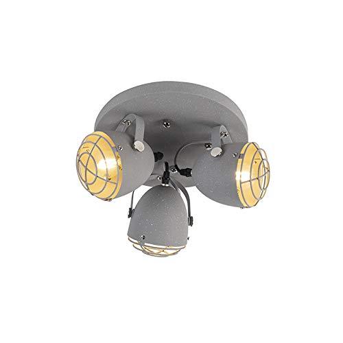 QAZQA Industrieel Industriele verstelbare spot grijs betonlook 3-lichts - Rebus Staal Cilinder/Rond Geschikt voor LED Max. 3 x 25 Watt