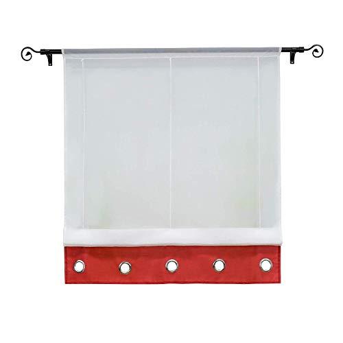 Gelb in voile ESLIR Tenda a pacchetto con passanti moderna per la cucina 1 pezzo trasparente BxH 60x155cm 100/% poliestere