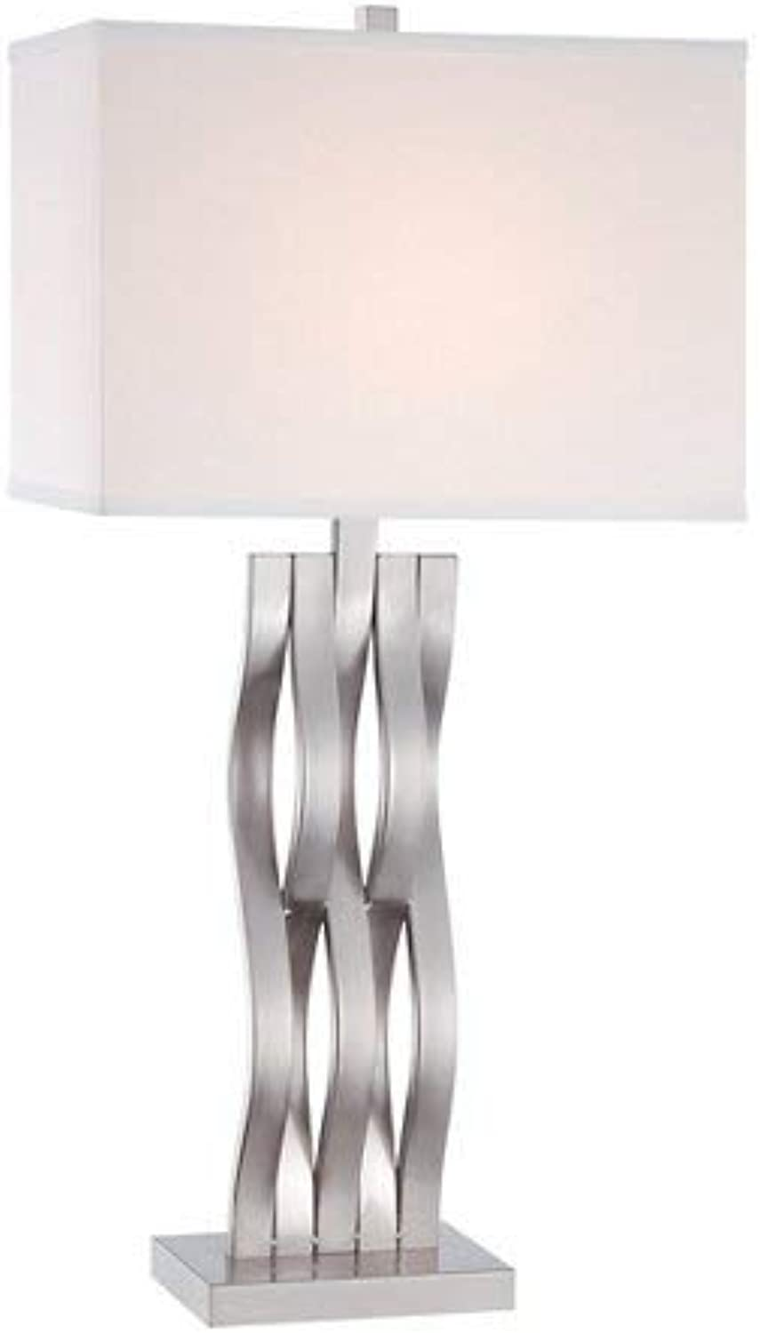 Lite Source LS-22075 Table Lamp with White Fabric Shades, Chrome Finish