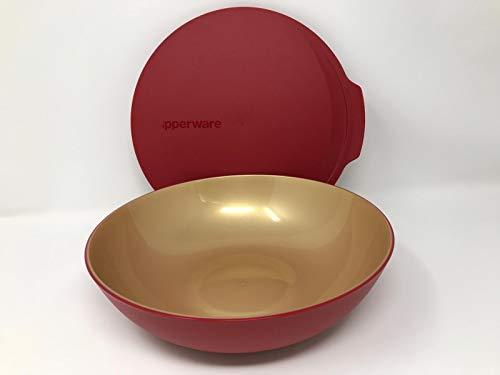 Tupperware Allegra Servierschale Schüssel mit Deckel rot bordeux Gold Weihnachten 1500ml 1,5 Liter edel glänzend